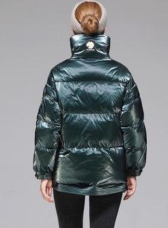 Mock Neck Front Zip Puffer Jacket