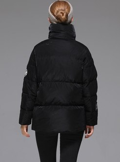 Mock Neck Front Zip Loose Puffer Jacket