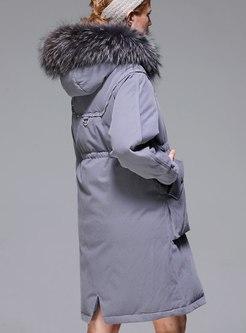 Faux Fur Drawstring A Line Down Parka