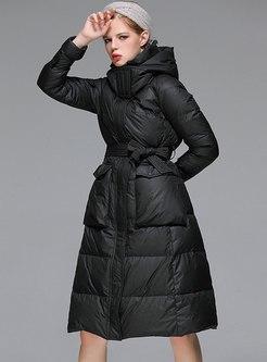 Hooded A Line Long Puffer Coat
