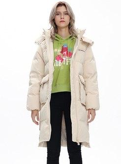 Long Sleeve Knee-length Puffer Coat