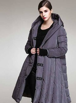 Plus Size Hooded A Line Down Coat