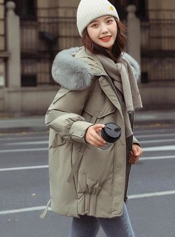 Faux Fur Mid-length Loose Down Coat
