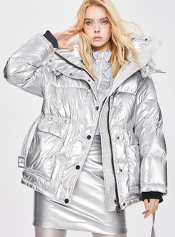 Removable Hooded Shiny Puffer Jacket