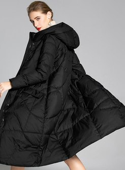 Hooded Plus Size A Line Down Coat