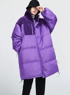 Mock Neck Patchwork Plus Size Puffer Coat