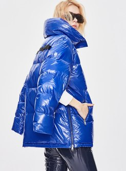 Mock Neck Split Sleeve Shiny Puffer Jacket