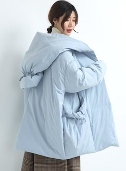 Hooded Plus Size Drawstring Down Coat