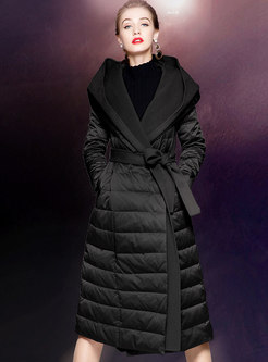 Hooded Patchwork A Line Long Puffer Coat