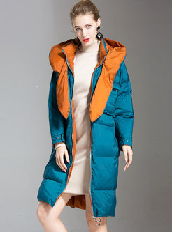 Color-blocked Hooded Straight Puffer Coat