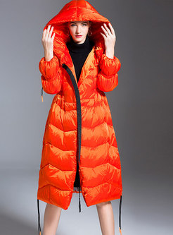 Hooded Drawstring A Line Down Coat
