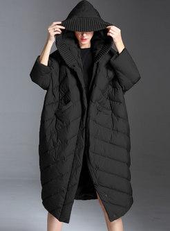 Plus Size Hooded Bat Sleeve Down Coat