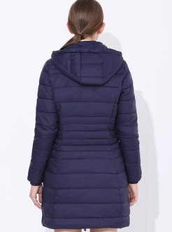 Removable Hooded Front Zip Mid-length Coat