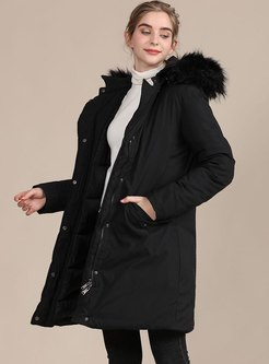 Black Faux Fur Hooded A Line Coat