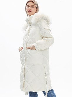 Removable Hooded Straight Knee-length Coat