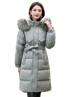 Fur Collar Patchwork Hooded Puffer Coat