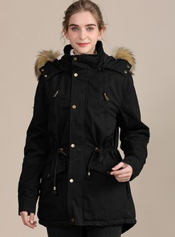 Faux Fur Hooded Drawstring Parka