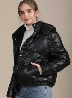 Black Mock Neck Short Shiny Jacket