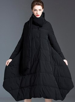 Mock Neck A Line Cape Long Down Coat