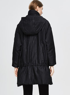 Plus Size Ruched Drawstring Down Coat