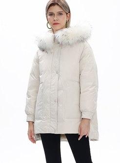 Long Sleeve Asymmetric Loose Down Coat