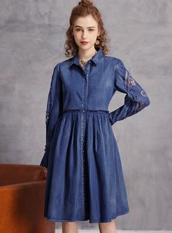Turn Down Collar Embroidered Denim Dress