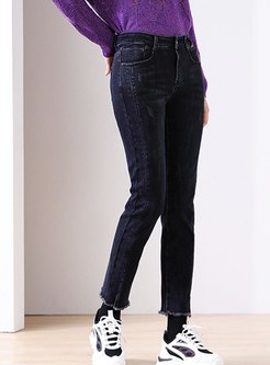 High Waisted Short Plush Denim Pants
