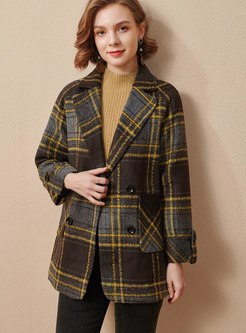 Plaid Notched Double-breasted Overcoat