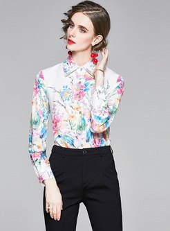 Turn Down Collar Single-breasted Print Shirt