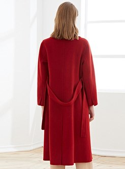 Notched Straight Long Cashmere Overcoat