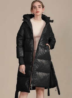 Removable Hooded Knee-length Loose Coat