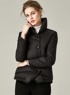 Mock Neck Short Lightweight Down Coat