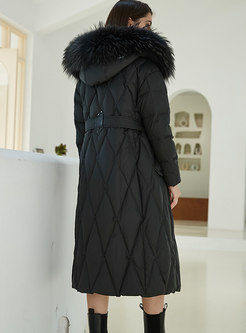 Hooded Diamond Long Straight Down Coat