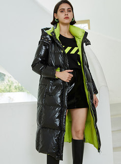 Color-blocked Hooded Shift Down Coat