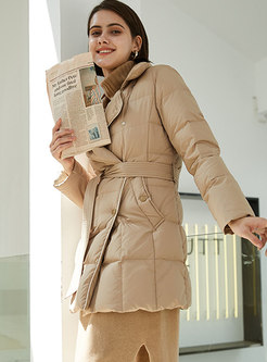 Lapel Double-breasted Pure Color Puffer Coat