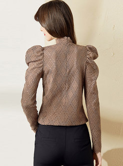 Mock Neck Puff Sleeve Lace Openwork Blouse