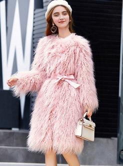 Long Sleeve Solid Color Faux Fur Coats