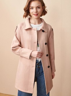 Turn Down Collar Single-breasted Overcoat