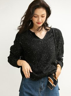 V-neck Pullover Loose Sequin Sweater