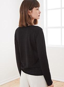 V-neck Pure Color Pullover Sweater