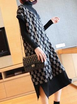Short Sleeve Print Shift Knitted Dress