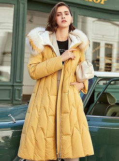 Fur Collar Hooded A Line Long Down Coat