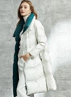 Lapel Color-blocked Straight Down Coat
