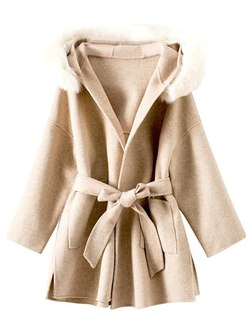 Double-cashmere Hooded Long Sleeve Coat