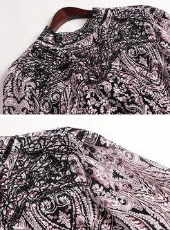 Mock Neck Openwork Print Chiffon Blouse
