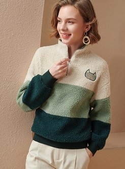 Color-blocked Pullover Fleece Sweatshirt