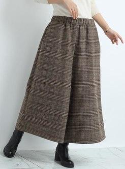 High Waisted Plus Size Plaid Wide Leg Pants