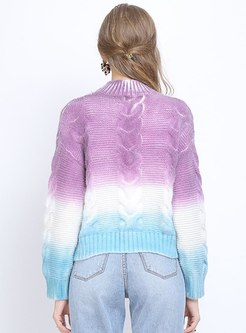 Mock Neck Pullover Hit Color Sweater