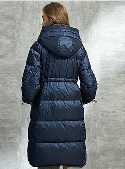 Plaid Patchwork Hooded Puffer Coat