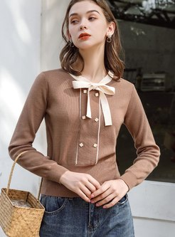 Crew Neck Bowknot Color-blocked Sweater